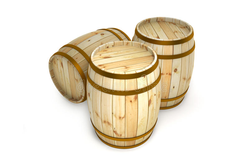 Barrel. Wooden barrels with a white background vector illustration