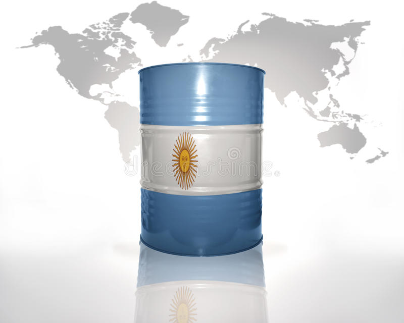 Barrel with argentinean flag. On the world map background royalty free illustration