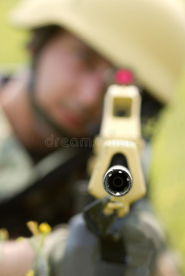 Barrel of automatic rifle royalty free stock image