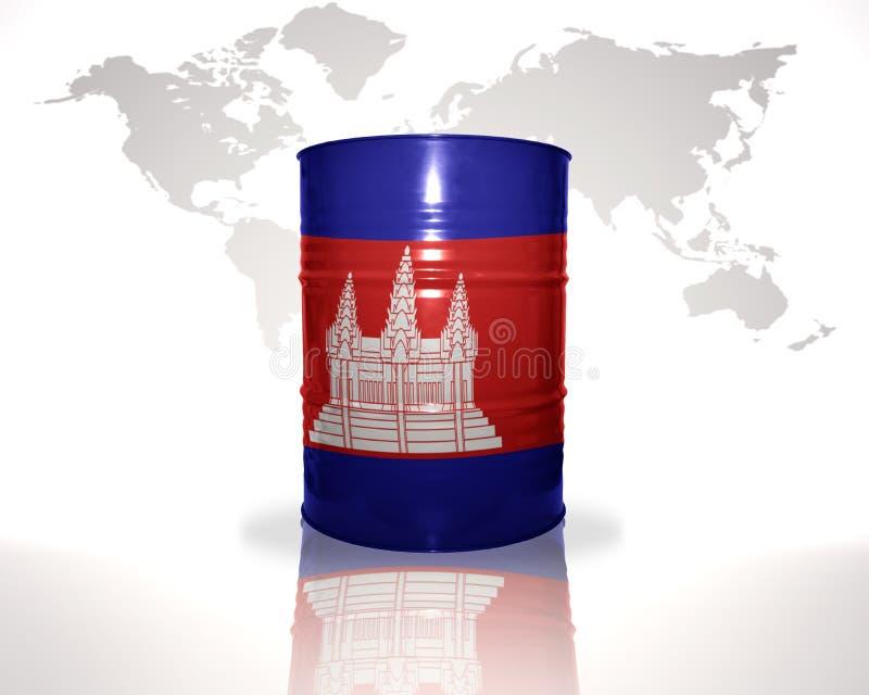 Barrel avec le drapeau cambodgien sur la carte du monde illustration libre de droits