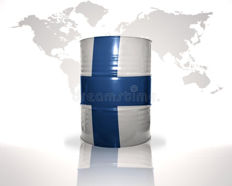 barrel avec le drapeau finlandais sur la carte du monde illustration de vecteur