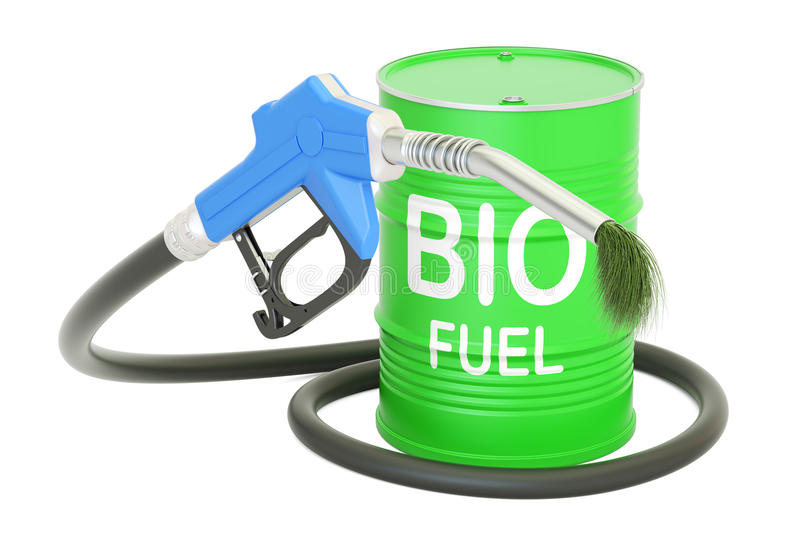 Barrel with bio fuel and gas pump nozzle, 3D rendering stock illustration