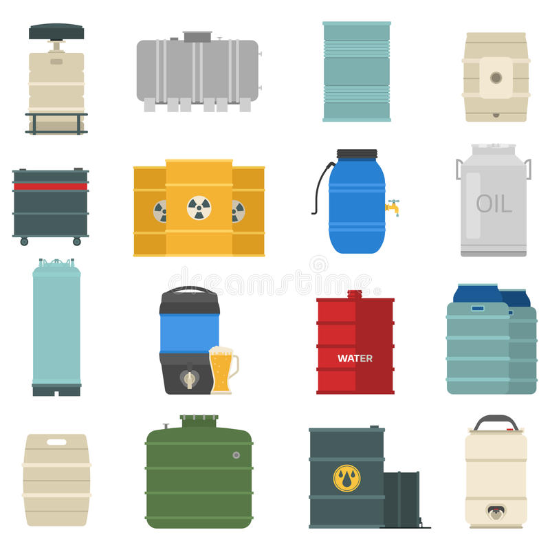 Barrel capacity tanks vector set. Stack different oil drums container liquid cask storage object. Rows of steel barrels capacity tanks. Natural wooden barrel royalty free illustration