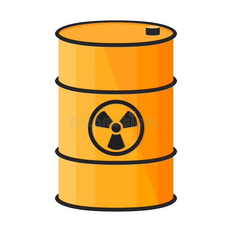 Barrel with dangerous substance. Radioactive sign. Vector illustration on white background vector illustration