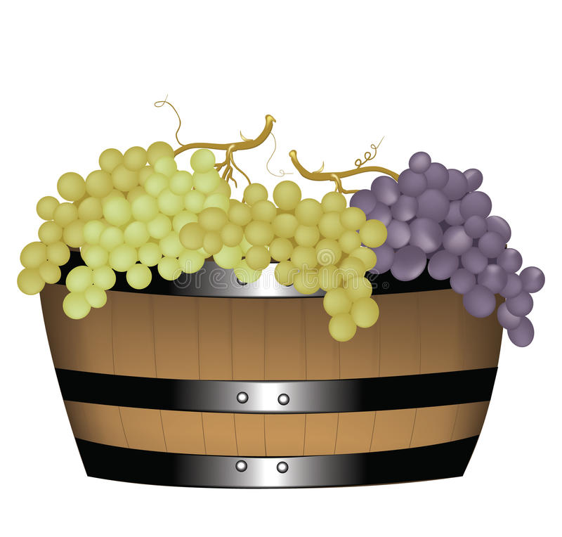 Barrel with grapes royalty free illustration