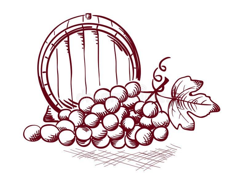 Barrel and grapes vector illustration