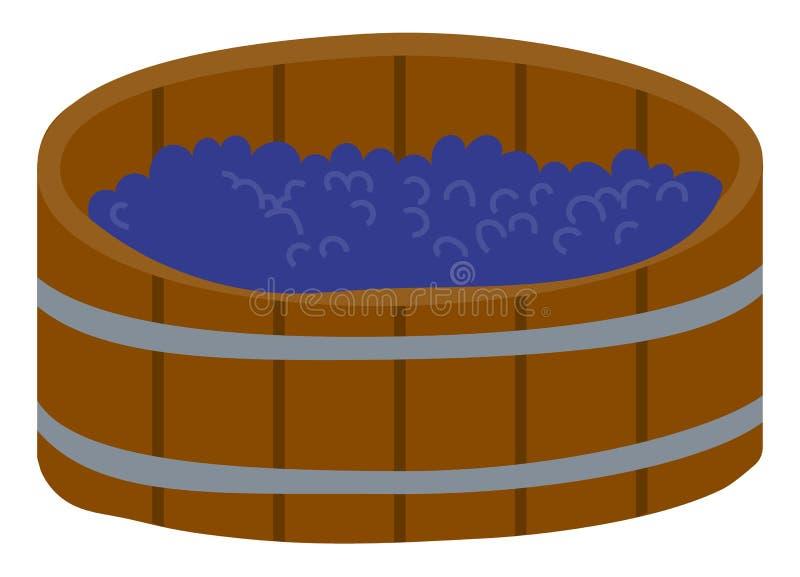Grape in Wooden Barrel, Produce Wine in Keg Vector. Barrel with grapes, produce beverage, agricultural object. Element of harvest festival, making wine, vineyard stock illustration