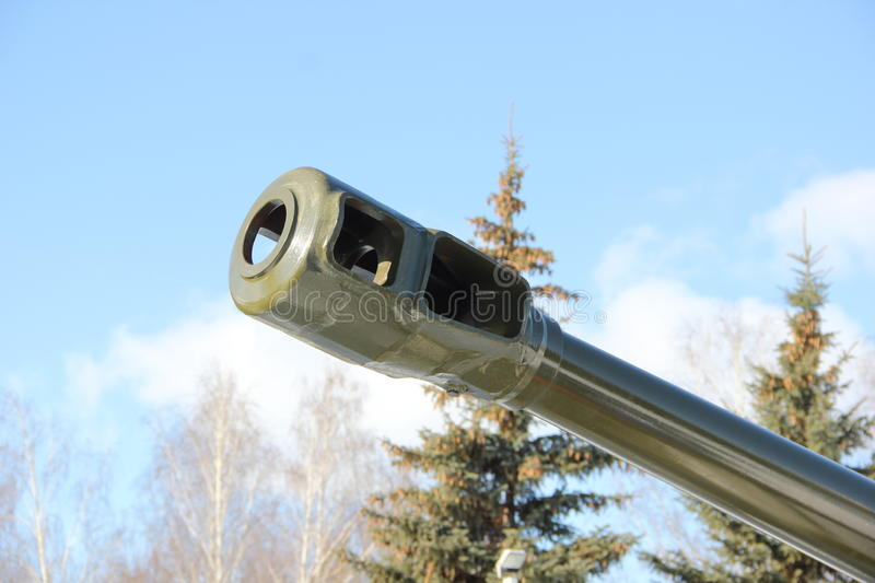 The barrel of a gun. The barrel is Soviet howitzer during the second world war stock photos