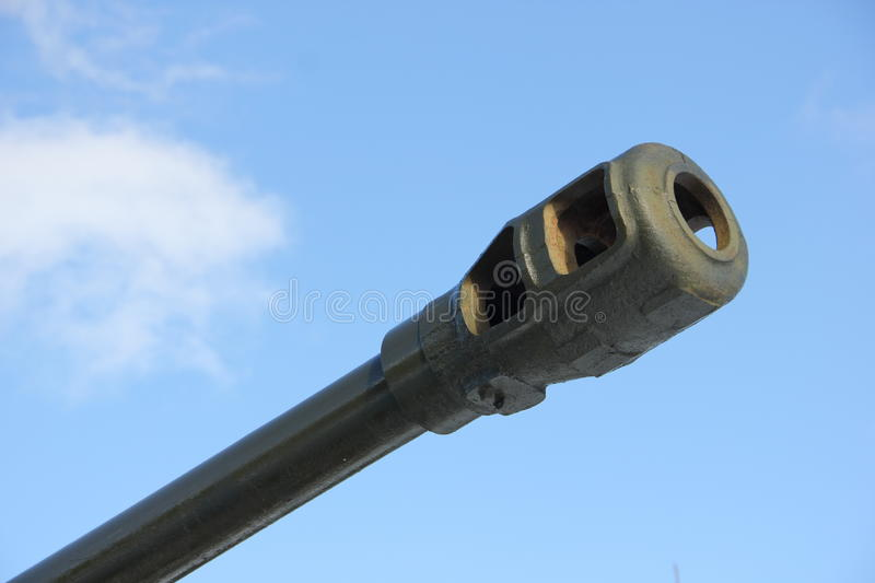 The barrel of a gun. The barrel is Soviet howitzer during the second world war royalty free stock images