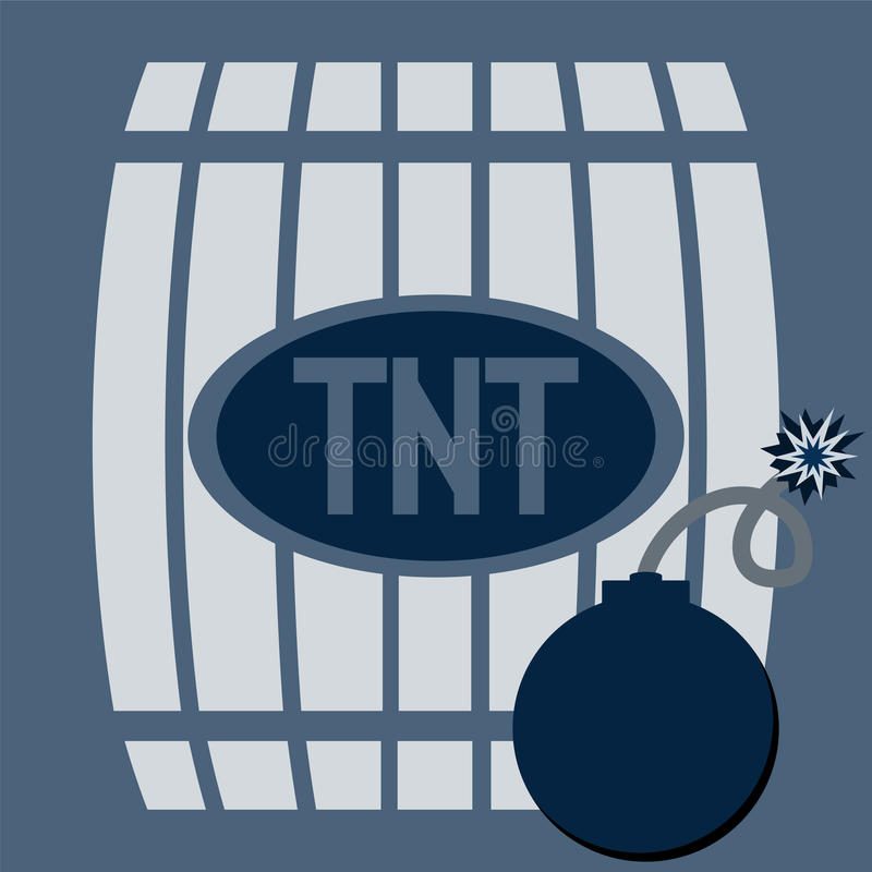 Barrel of gunpowder. TNT Bomb royalty free illustration