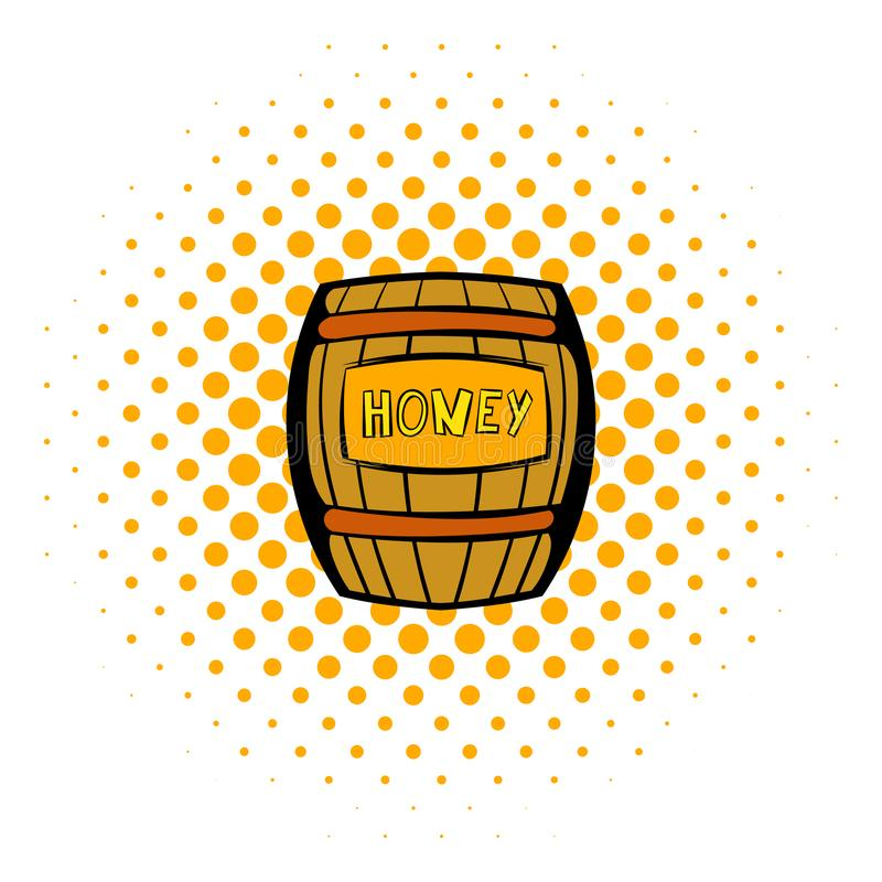 Barrel with honey icon, comics style stock illustration