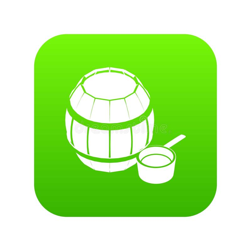 Barrel honey icon green vector. Isolated on white background stock illustration