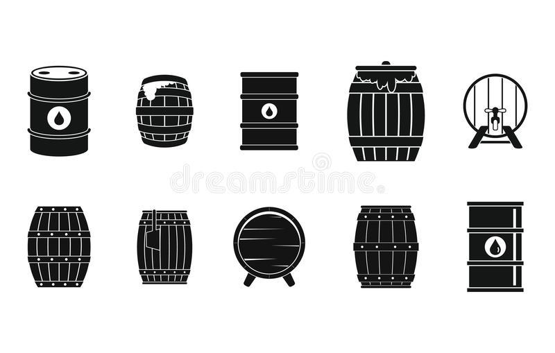 Barrel icon set, simple style. Barrel icon set. Simple set of barrel vector icons for web design isolated on white background royalty free illustration