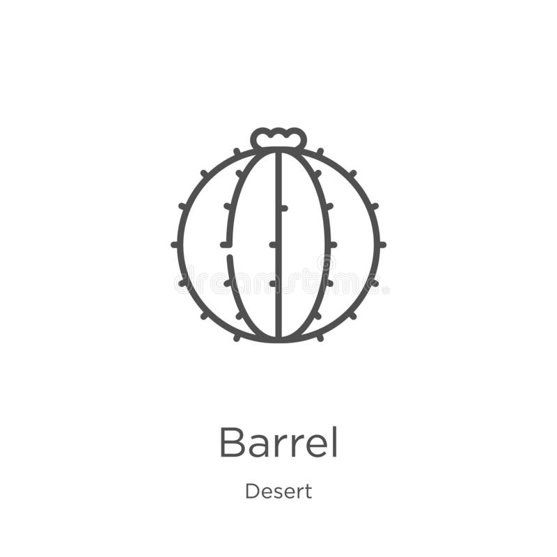 barrel icon vector from desert collection. Thin line barrel outline icon vector illustration. Outline, thin line barrel icon for royalty free illustration