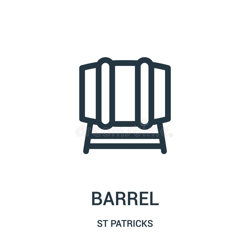 barrel icon vector from st patricks collection. Thin line barrel outline icon vector illustration. Linear symbol for use on web vector illustration