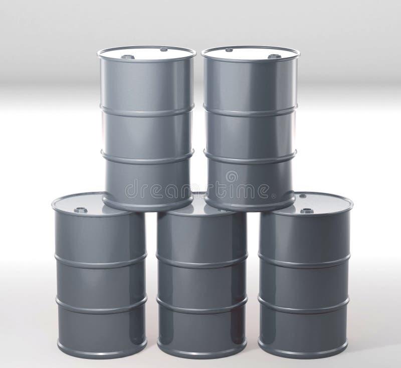 Barrel metal tank on white. 3D rendering vector illustration