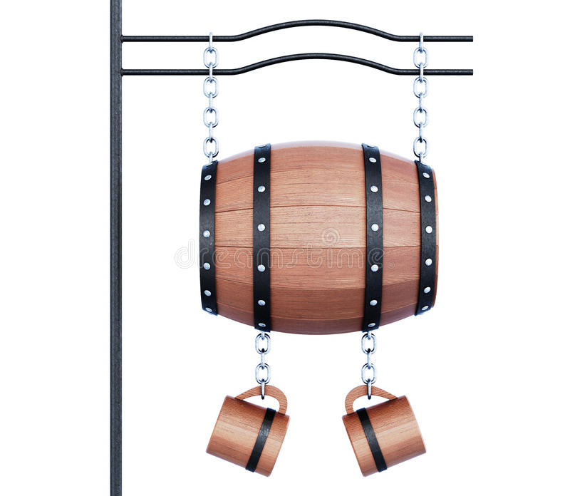 Barrel and mugs for the sign of the pub. 3d illustration on white background stock illustration