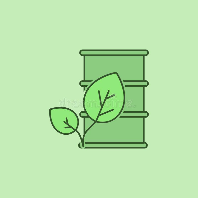 barrel of oil leaves icon stock illustration