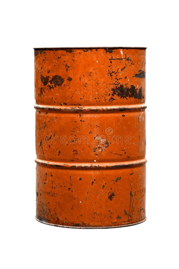 Orange Barrel Oil rust old isolated on white background stock photos