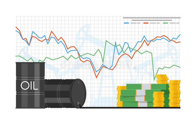Barrel of oil price chart vector illustration in flat style. Stock graph on laptop screen. vector illustration