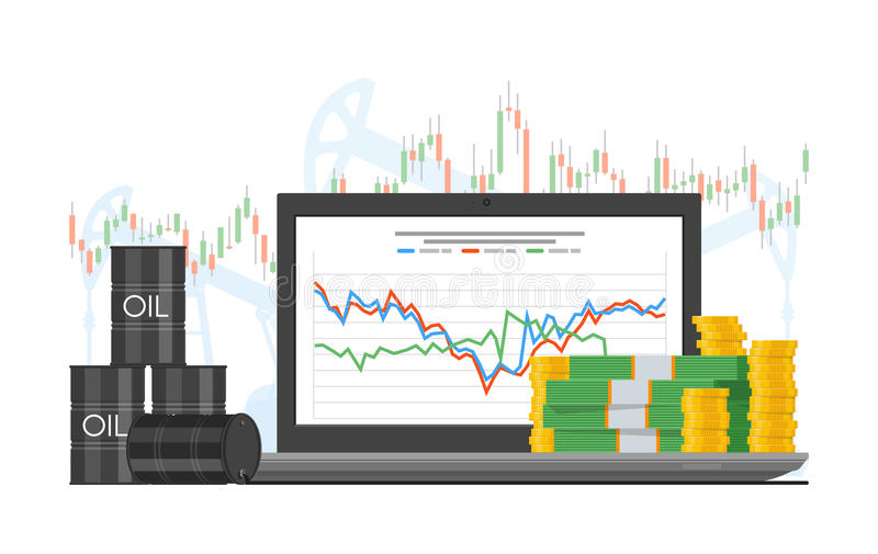 Barrel of oil price chart vector illustration in flat style. Stock graph on laptop screen. stock illustration