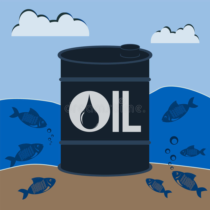 Barrel of oil underwater with the fishes. royalty free illustration