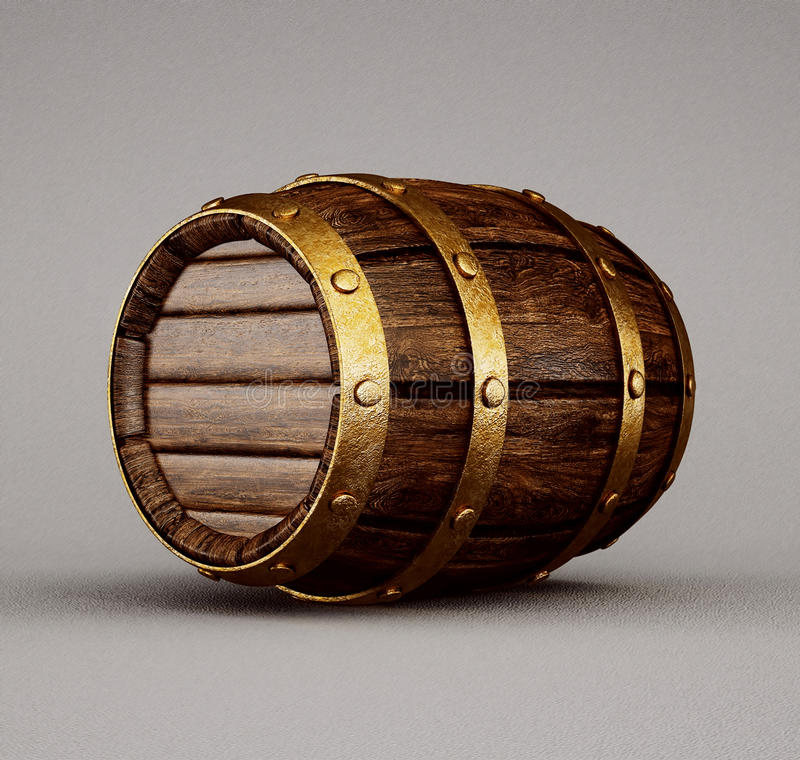 Barrel. Old wooden barrel isolated on a grey stock illustration