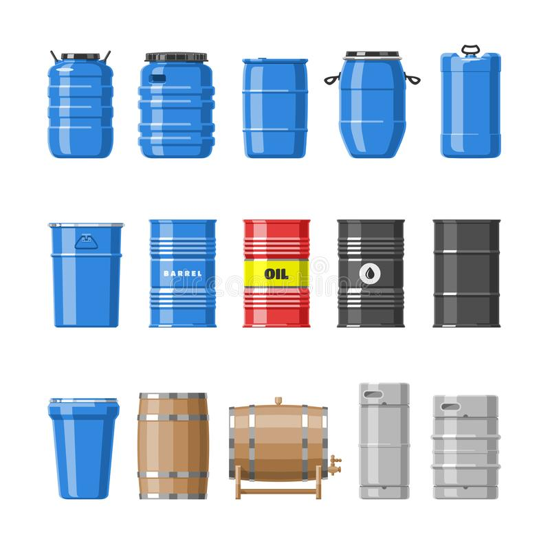 Barrel olje- trummor för vektorn med bränsle och vin eller öl barreled i träbarreling för fatillustrationalkohol in stock illustrationer