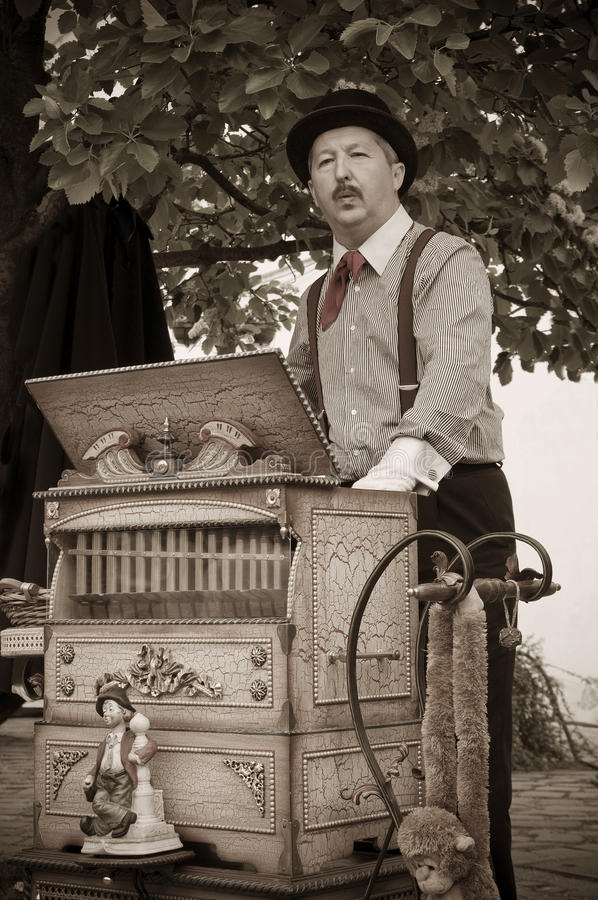 Barrel Organ Musician, Player royalty free stock image