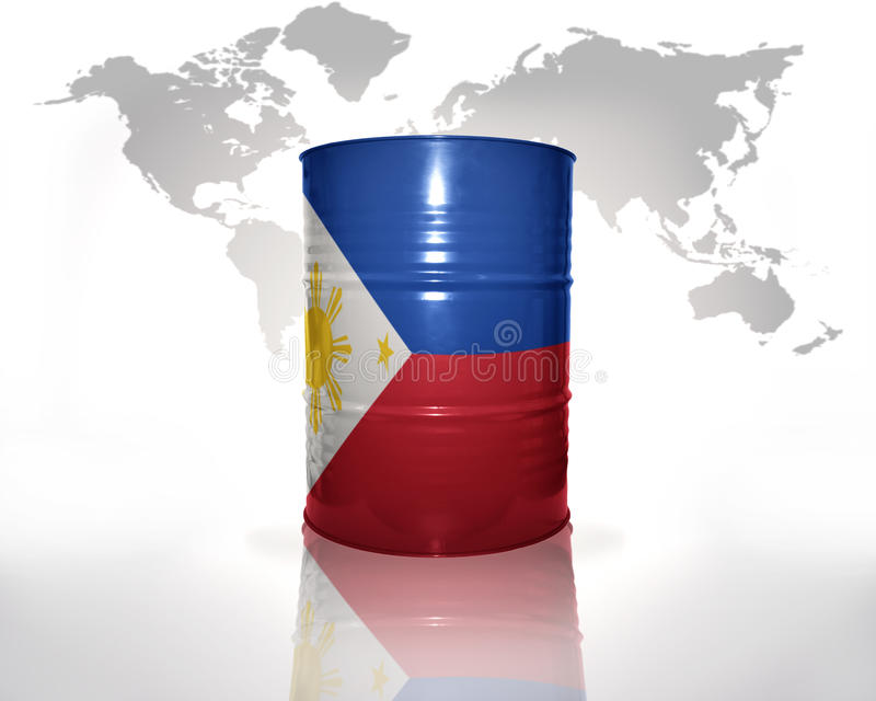 Barrel with philippines flag. On the world map background royalty free illustration