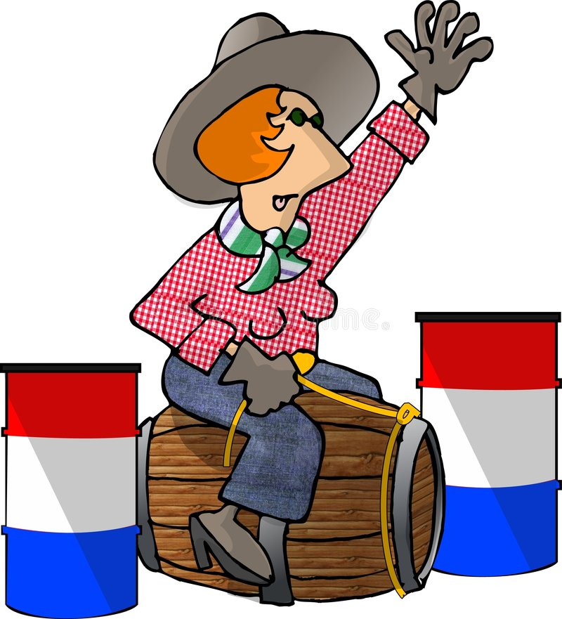 Barrel Racer. This illustration depicts a cowgirl racing barrels royalty free illustration
