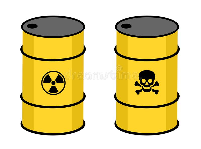 Barrel with radioactive and toxic substance royalty free illustration