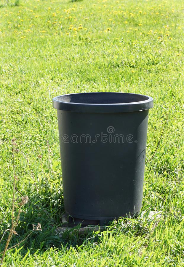 Barrel for rain water in the garden. Close-up royalty free stock photo