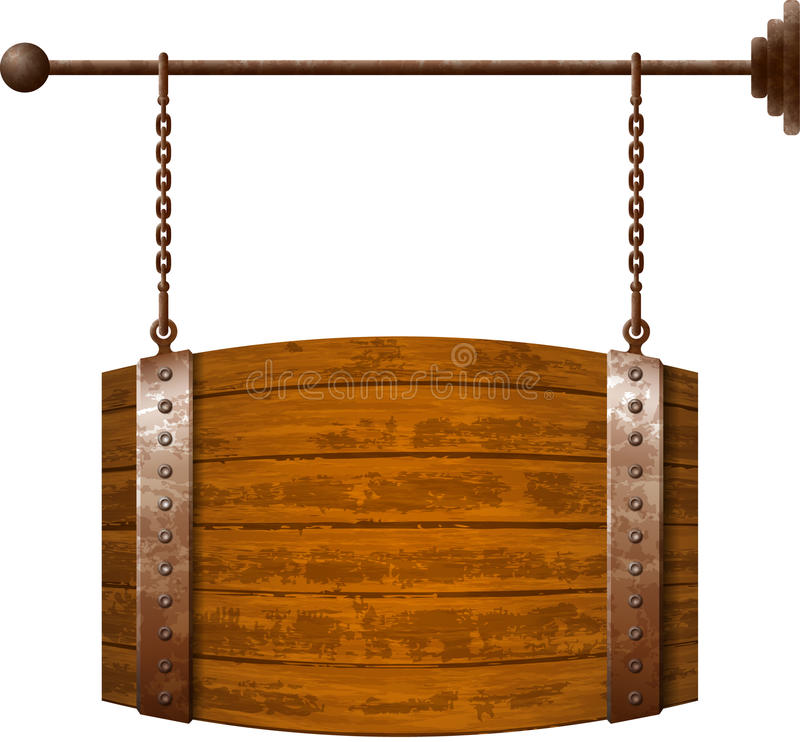 Barrel shaped wooden signboard. On rusty chains royalty free illustration