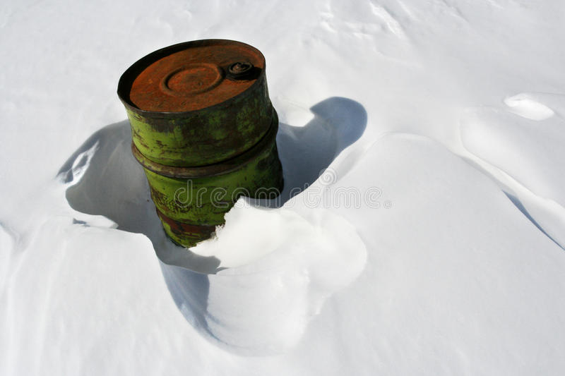 Barrel In Snow Stock Photos