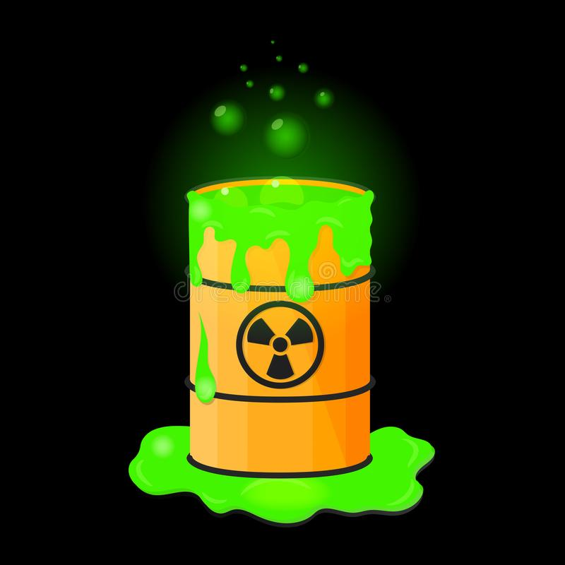Barrel with spilled liquid. Radioactive green slime. Waste with bubbles. Vector illustration vector illustration
