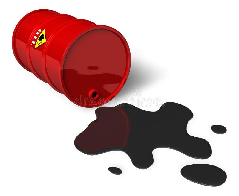 Barrel with spilled oil stock illustration