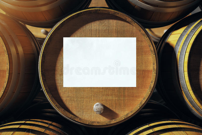 Barrel top with whiteboard. Barrel top with blank whiteboard. Mock up, 3D Render royalty free illustration