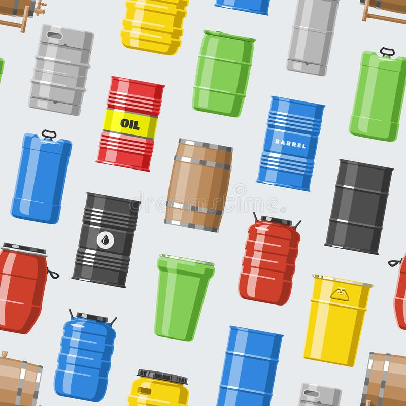 Barrel vector oil barrels with fuel and wine or beer barreled in wooden casks illustration alcohol barreling in. Containers or storage set seamless pattern stock illustration