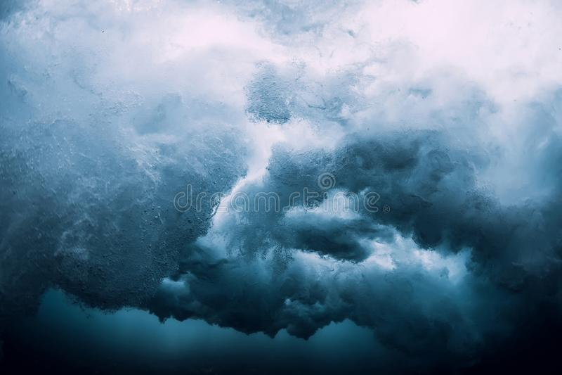 Barrel wave underwater. Ocean in underwater royalty free stock images