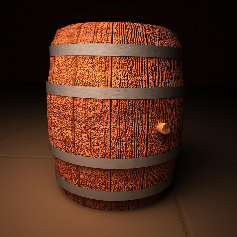Barrel of wine. In cellar, 3d rendering vector illustration