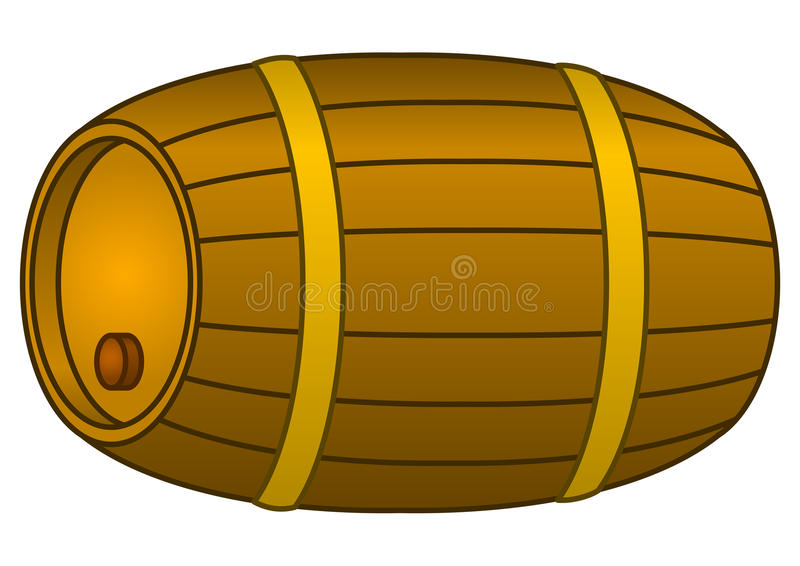 Barrel wood. Container with metal hoop and stopper, isolated stock illustration