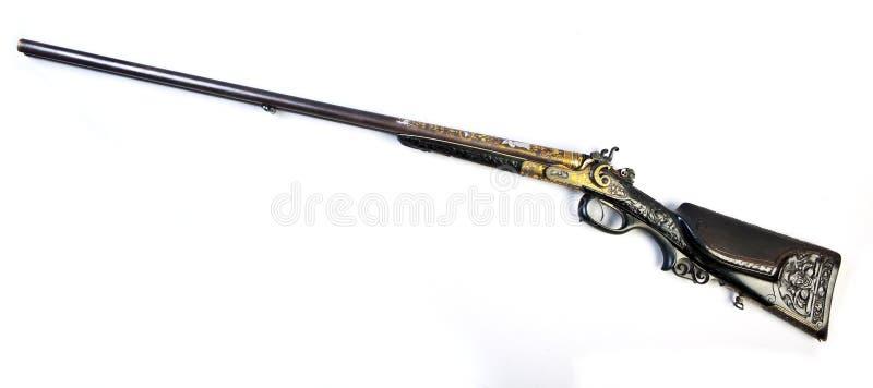 barrelled двойная пушка охотясь старая сторона стоковое изображение rf