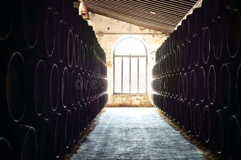 barrels in bodega royalty free stock photo