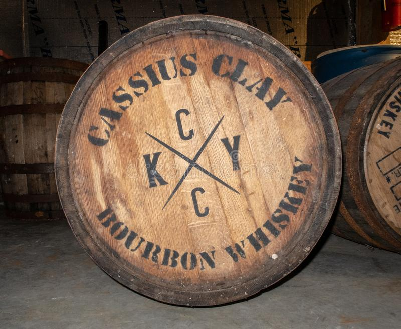 Barrels of Bourbon Whiskey. Barrels of Cassius Clay tribute bourbon whiskey, aging at the Three Boys Farm Distillery in Central Kentucky stock photography