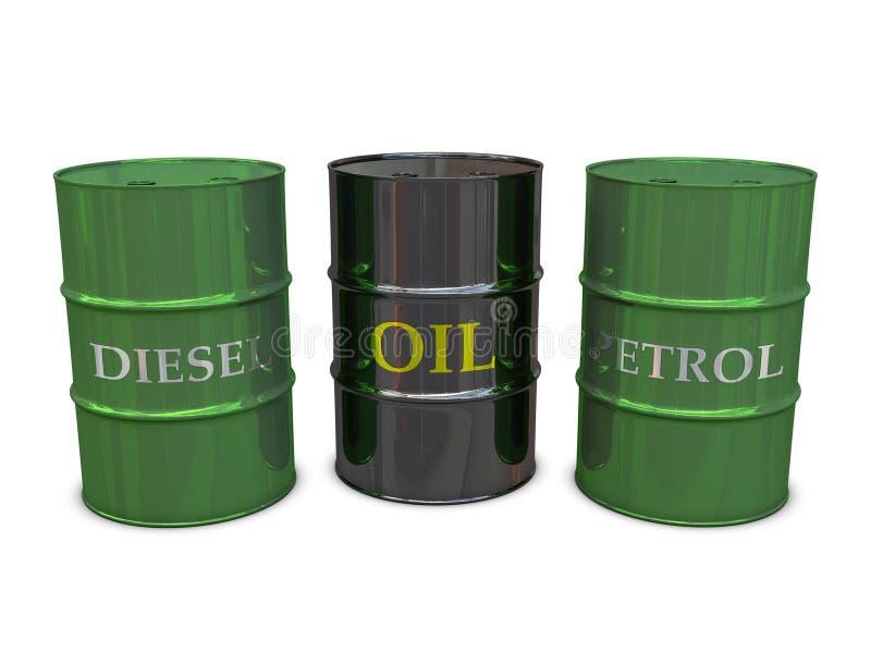 barrels dieseloljapetrol royaltyfri illustrationer