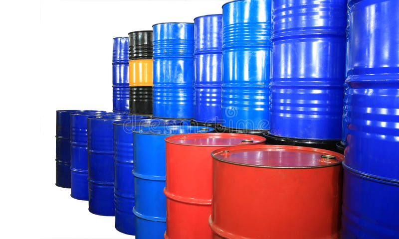 Barrels. Of different colors on a white backgroun stock photos
