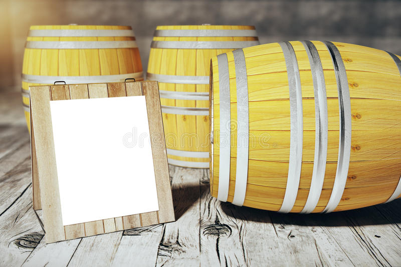 Barrels with empty stand. Wine barrels next to a blank white stand. Mock up, 3D Render stock illustration