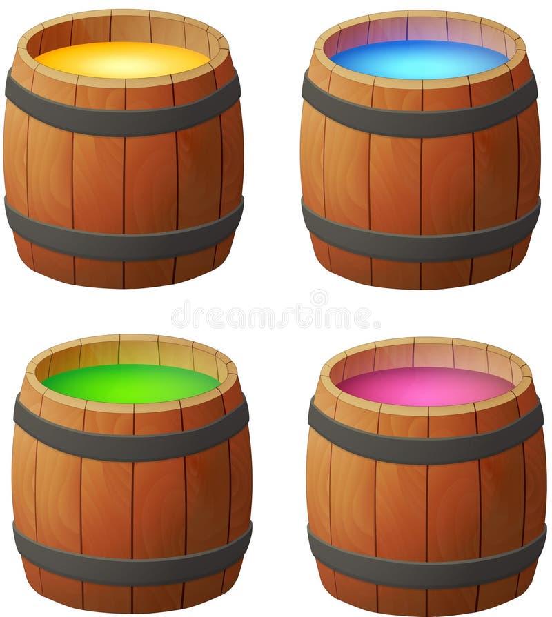Barrels of honey, wine and magic potions stock image