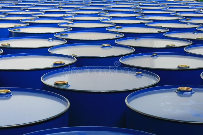 Barrels. Metal barrels of blue color royalty free stock photo